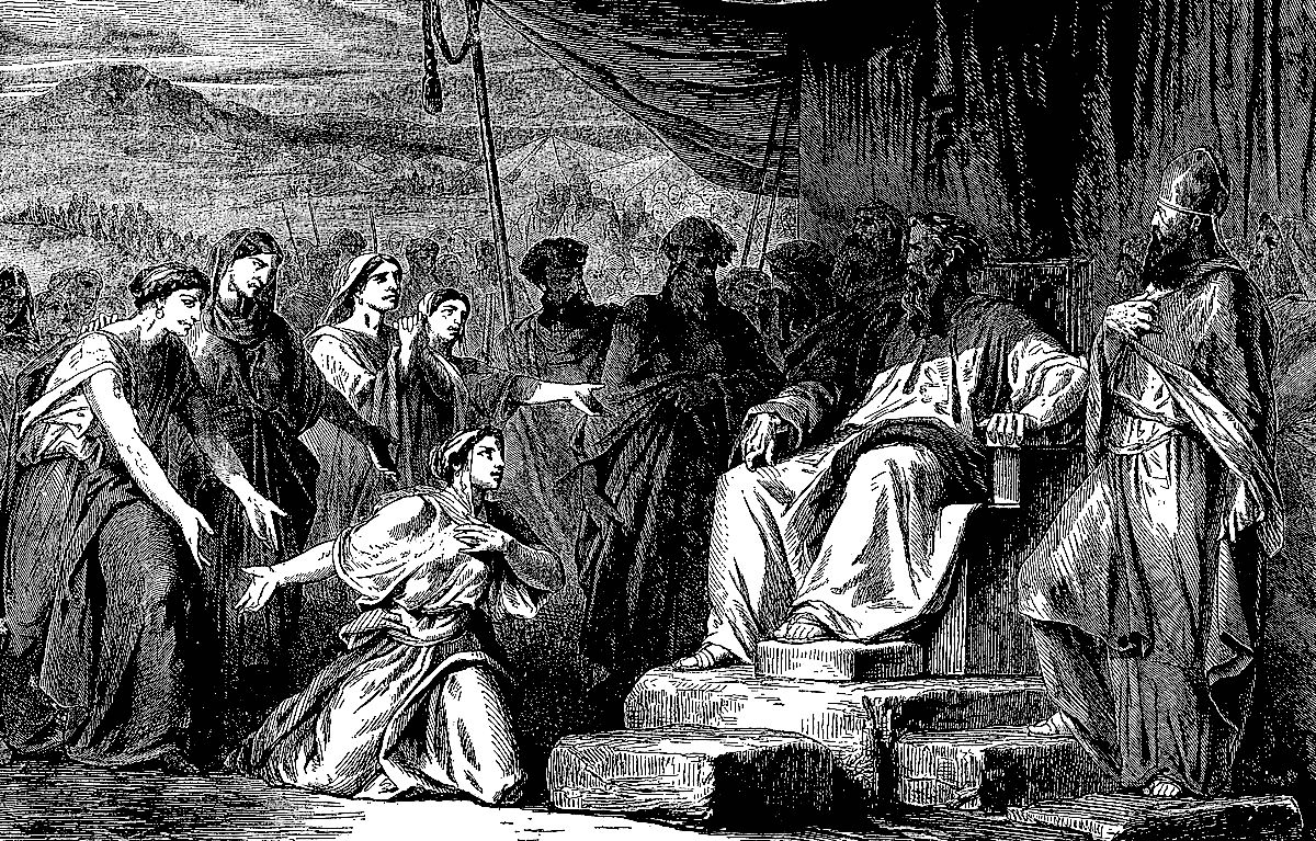 a woman on her knees before moses, who is sitting on a throne