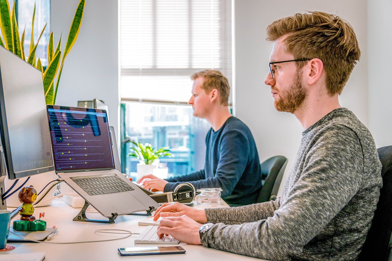 Developers working in their office