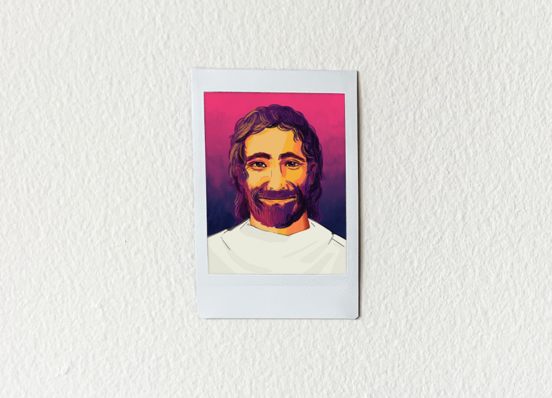 Animated headshot of a peaceful Jesus smiling